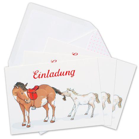 krima & isa Einladungskarten Pony 6er-Set