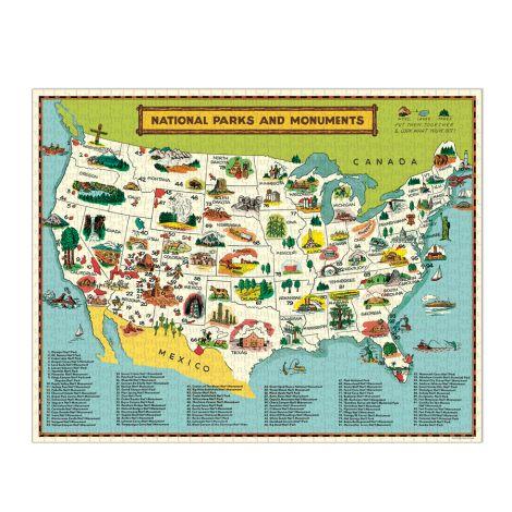 Cavallini Puzzle National Parks Map 1000-teilig