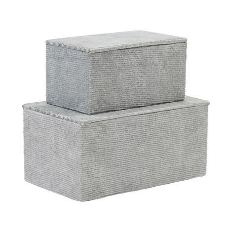 House Doctor Box mit Deckel Corduroy Grau 2er-Set •