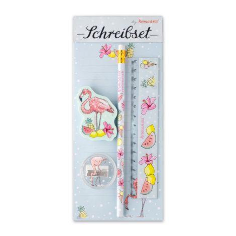 krima & isa Schreibset Flamingo 5er-Set