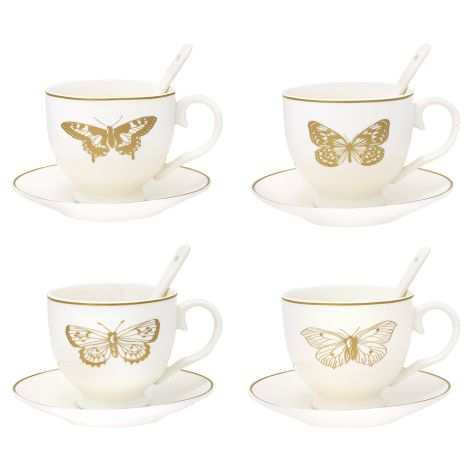 GreenGate Tasse mit Unterteller/Spoon Butterfly Gold 4er-Set •