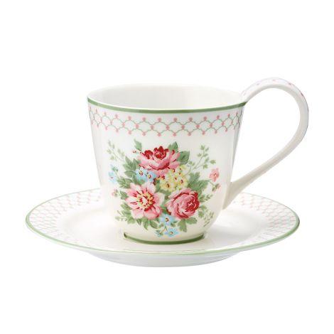 GreenGate Tasse mit Untertasse Aurelia White •