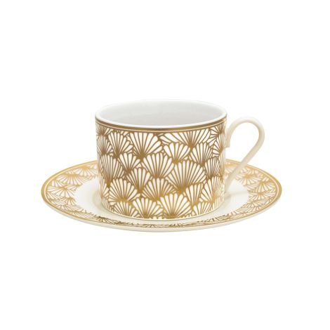 Gate Noir by GreenGate Tasse mit Unterteller Jacqueline Gold •