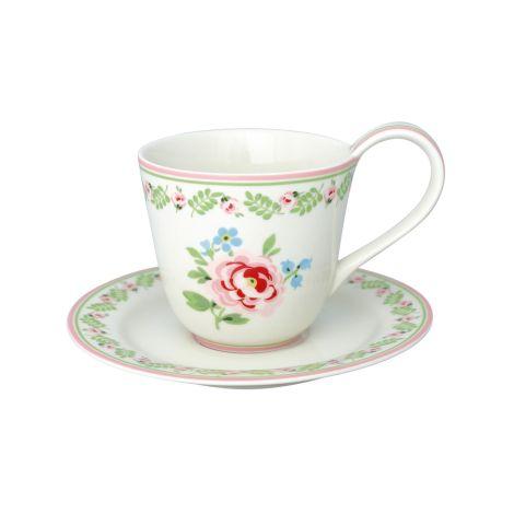GreenGate Tasse mit Unterteller Lily Petit White