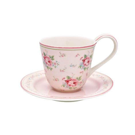 GreenGate Tasse mit Unterteller Marley Pale Pink