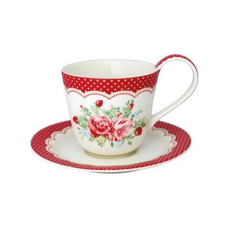 GreenGate Tasse mit Unterteller Mary White