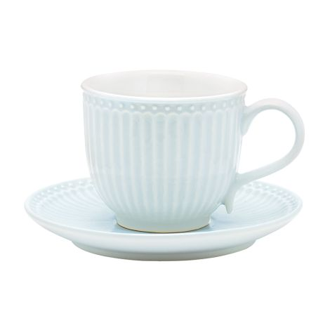 GreenGate Tasse mit Unterteller Alice Pale Blue