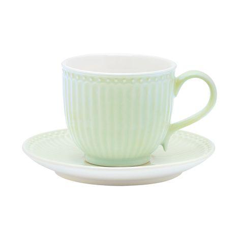 GreenGate Tasse mit Unterteller Alice Pale Green