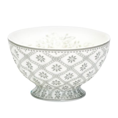 GreenGate Porzellan French Bowl Bianca Warm Grey Medium