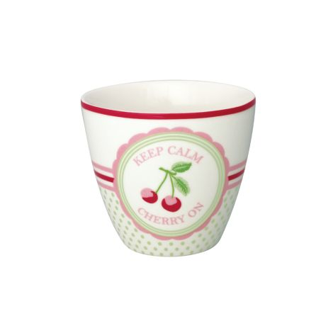 GreenGate Latte Cup Becher Cherry Mega White