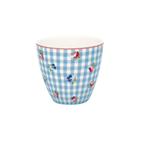 GreenGate Latte Cup Becher Viola Check Pale Blue