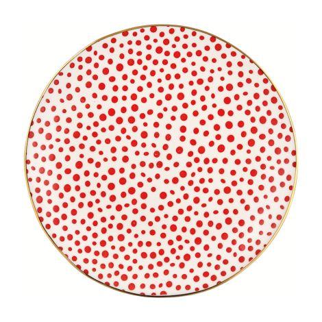 GreenGate Teller Dot Red/Gold 21 cm