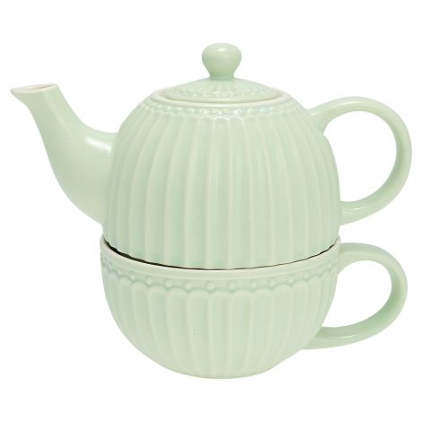 "GreenGate Teetasse mit Kanne ""Tea For One"" Alice Pale Green •"