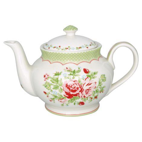 GreenGate Teekanne Round Mary White