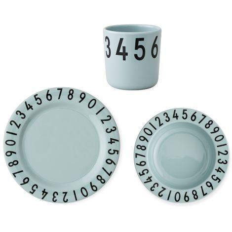 Design Letters Melamin Kindergeschirr-Set Numbers Green •