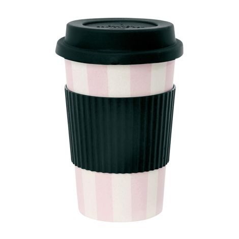 Miss Étoile Melamin Travel Mug Stripes Rosa