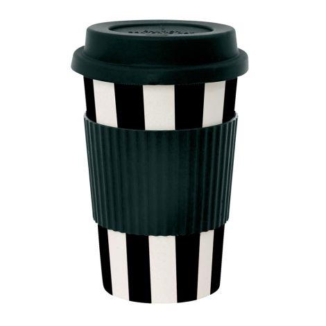 Miss Étoile Melamin Travel Mug Stripes Schwarz