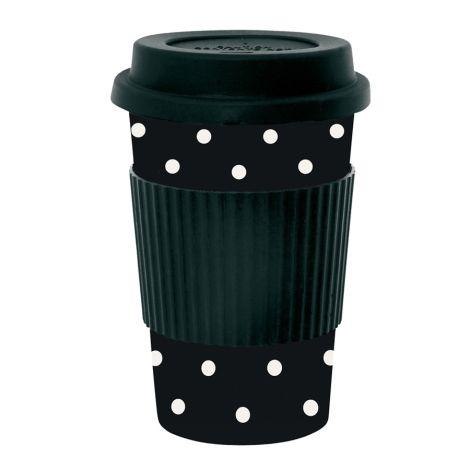 Miss Étoile Melamin Travel Mug Dots Weiß auf Schwarz