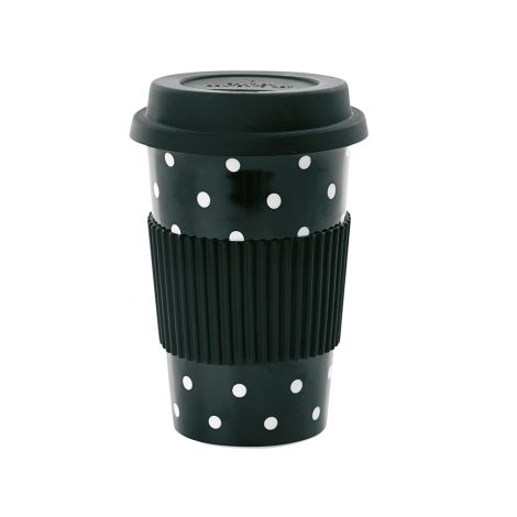 Miss Étoile Becher To-Go Black White Dots 0,5 l •