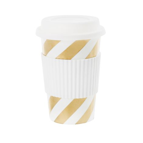 Miss Étoile Becher To-Go Diagonal Stripe Gold 0,5 l •