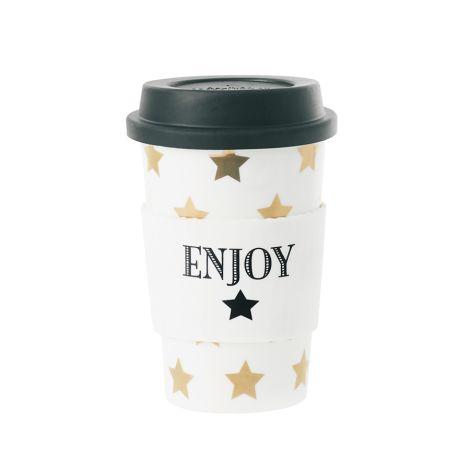 Miss Étoile Becher To-Go Stars Weiß/Gold