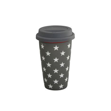 Krasilnikoff Becher Travel Mug Stars Charcoal