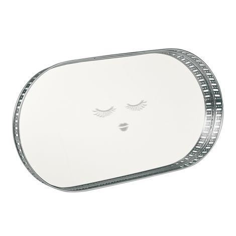 Miss Étoile Tablett mit Spiegel Closed Eyes Silver