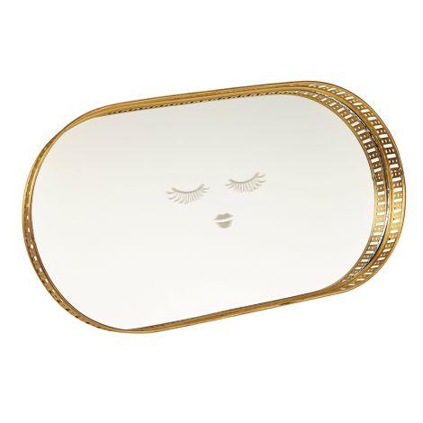 Miss Étoile Tablett mit Spiegel Closed Eyes Gold