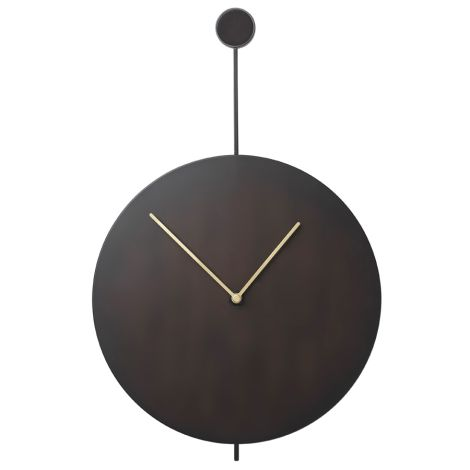 ferm LIVING Wanduhr Trace Black/Brass
