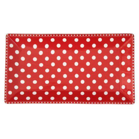 Krasilnikoff Servierplatte Dots Red