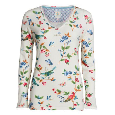 PIP Studio Langarm-Shirt Trice Birdy Off White