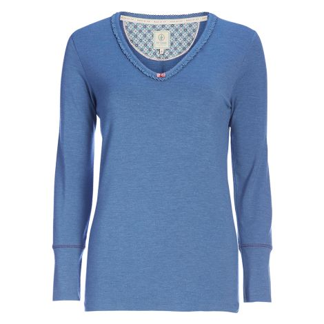 PIP Studio Langarm-Shirt Trix Uni Fringes Dark Blue