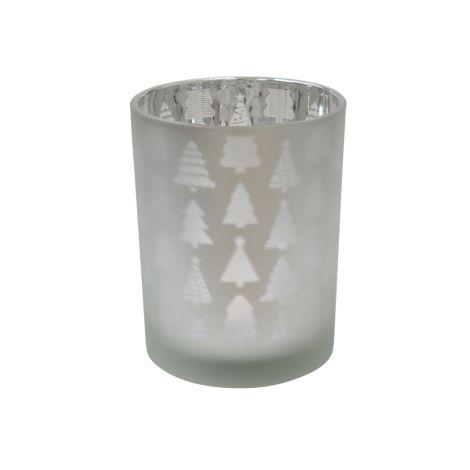 Krasilnikoff Teelichtglas Christmas Tree Frosted Silver L