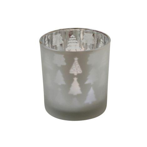 Krasilnikoff Teelichtglas Christmas Tree Frosted Silver M