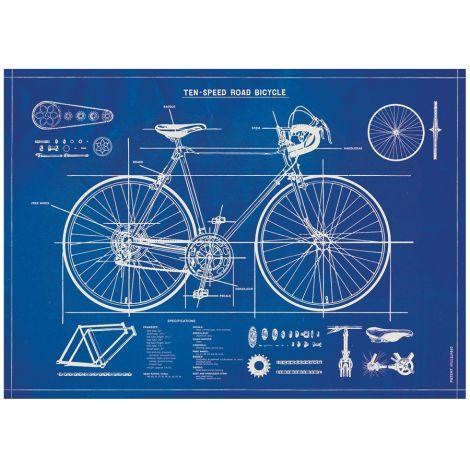 Cavallini Poster Bicycle Blueprint