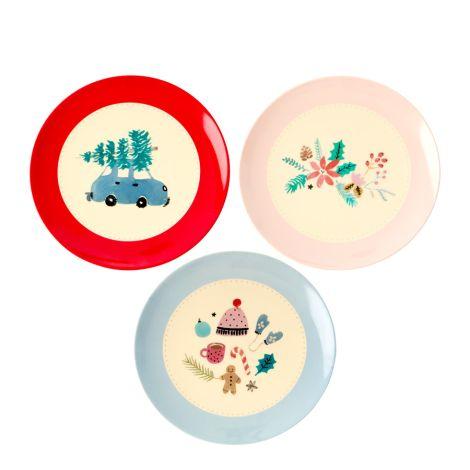 Rice Melamin Dessert Teller Christmas 3er-Set