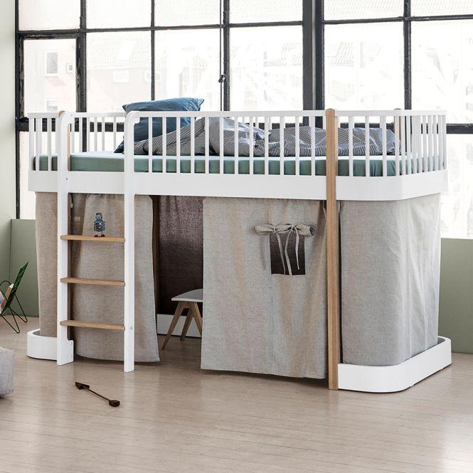 oliver furniture halbhohes hochbett wood wei eiche. Black Bedroom Furniture Sets. Home Design Ideas