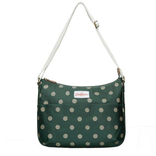cath kidston handtasche everyday bag button spot forest green online kaufen emil paula. Black Bedroom Furniture Sets. Home Design Ideas