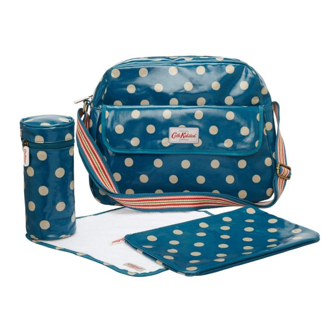 cath kidston wickeltasche zip changing bag button spot dark blue online kaufen emil paula. Black Bedroom Furniture Sets. Home Design Ideas