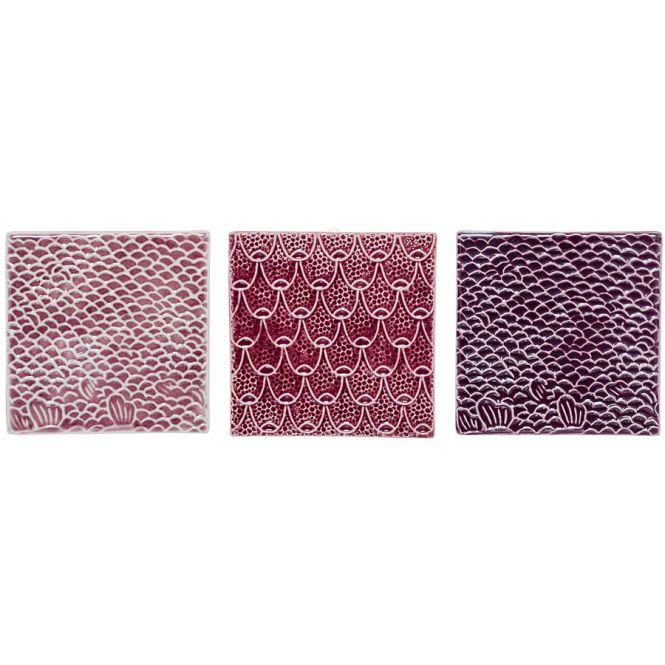bloomingville deko fliesen rose purple 3er set online kaufen emil paula. Black Bedroom Furniture Sets. Home Design Ideas