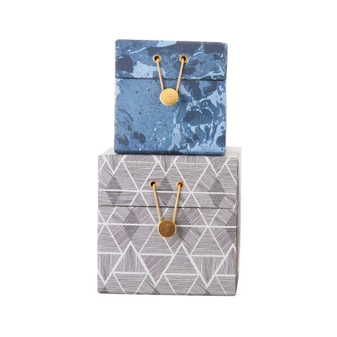 house doctor aufbewahrungs box 2er set blau grau online kaufen emil paula. Black Bedroom Furniture Sets. Home Design Ideas