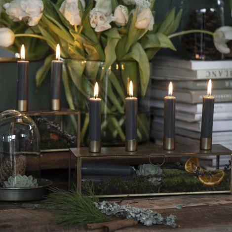 IB LAURSEN Kerzenhalter für 2 Stabkerzen Glasschachtel mit gestanztem Deckel