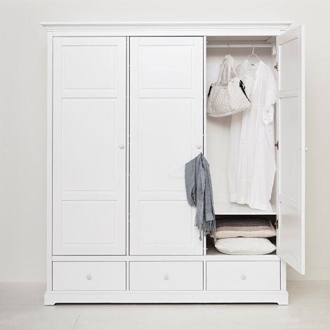 Oliver Furniture 3-türiger Kleiderschrank Weiß Hoch - Sofort Lieferbar