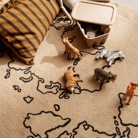 ferm LIVING Teppich Jute Small World