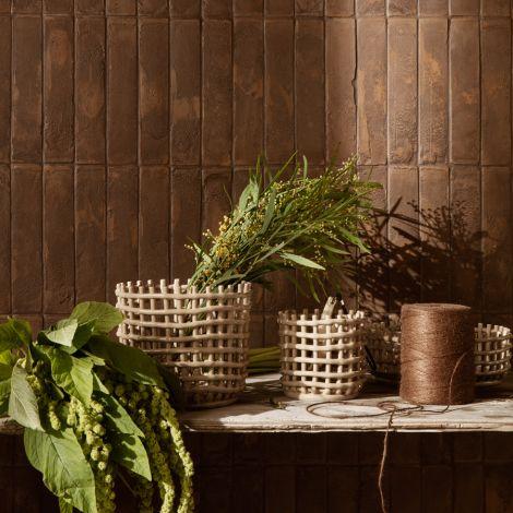 ferm LIVING Schale Keramik-Korb Small Cashmere