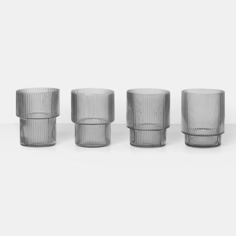 ferm LIVING Glas Ripple Smoked Grey 4er-Set