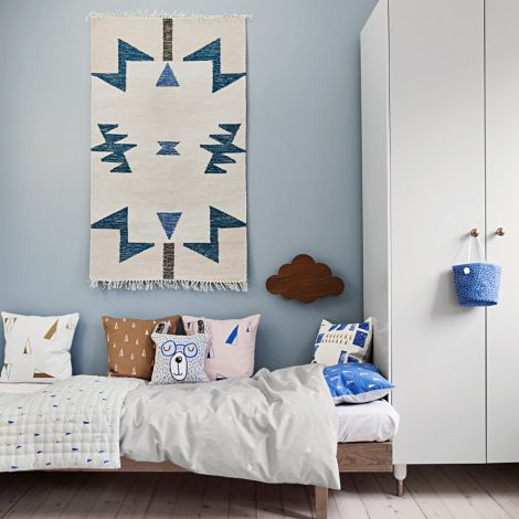 ferm LIVING Teppich Kelim Blue Triangles - Small