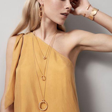 Dansk Smykkekunst Kette Infinity Knot Hämatitüberzug •