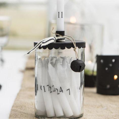 IB LAURSEN Dünne Kerzen 1-24 weiß mit schwarzen Zahlen