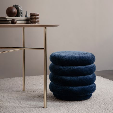 ferm LIVING Pouf Rund Faded Velvet Small Ocean